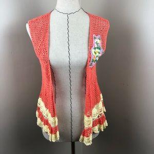 Free People Orange And Yellow Crochet Vest Boho L